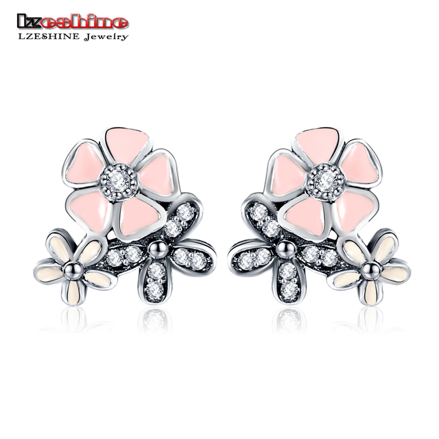 LZESHINE Authentic 925 Sterling Silver CZ Pink Engagement Stud Earrings For Women Christmas Earrings PSER48