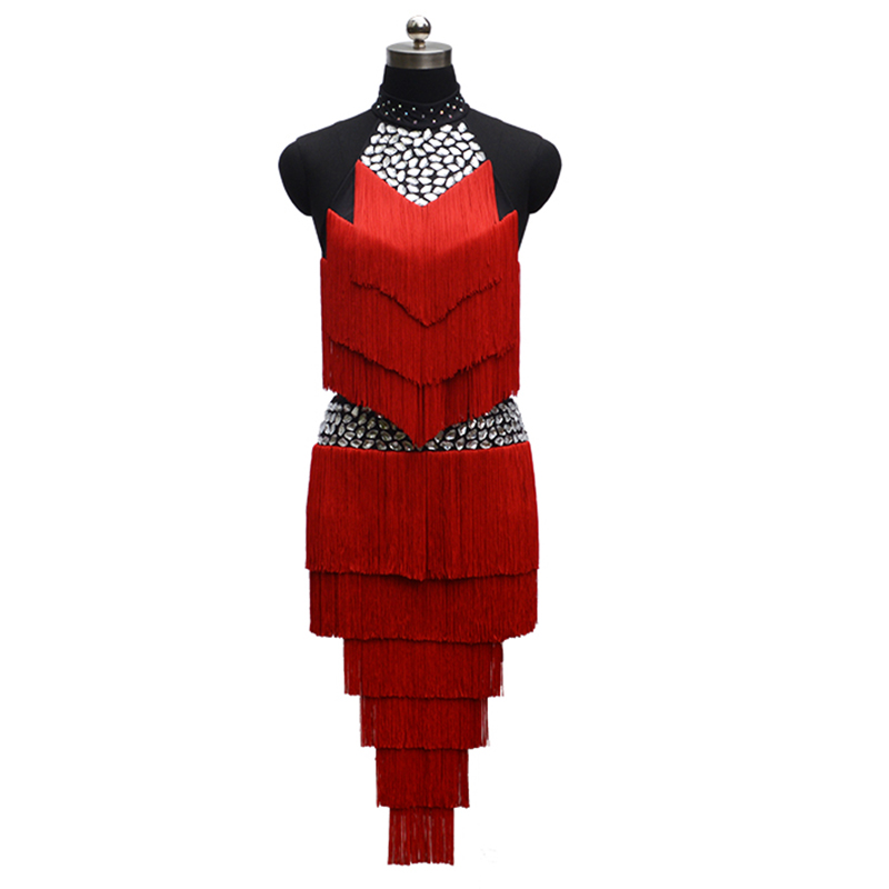 2018 Nové latinské taneční šaty, ženy, střapec, bez rukávů, bez rukávů, šaty pro společenský sál