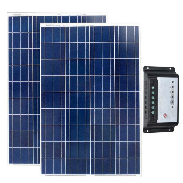 Placa Solar 12v 100w 2Pcs Solar Kit 24v 200w Solar Charge Controller 12v/24v 20A PWM Solar Charger For Car Battery Camping Car