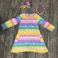 New Spring Baby Girls Cotton Soft Boutique Dress Children Clothes Milk Silk Pocket Rainbow Macaroon Stripe