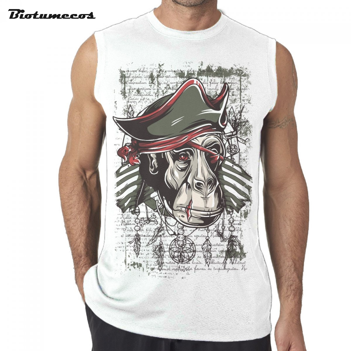 Men Tank Tops Brand Sleeveless T shirts One-eyes Person Ape Man Pirate Wear Patches Printed Casual Summer Undershirts MWD026