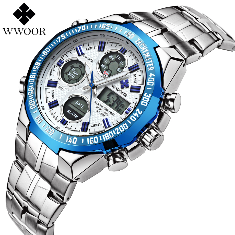 Top Brand Luxury Watches Men Full Steel Men's Quartz Analog Casual Clock Male Led Sport Military Wristwatch Relogio Masculino