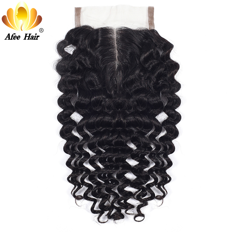 AliAfee Hair Brazilian Deep Wave Middle Part Lace Closure With Baby Hair 4X4 Remy Human Hair 130% Density Natural Color