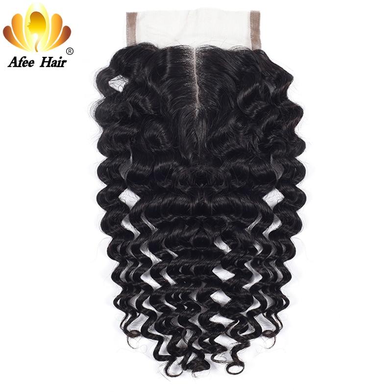 Aliafee волос Бразильский глубокая волна средняя часть Синтетическое закрытие шнурка волос с ребенком волос 4x4 Remy Человеческие Волосы плотнос...