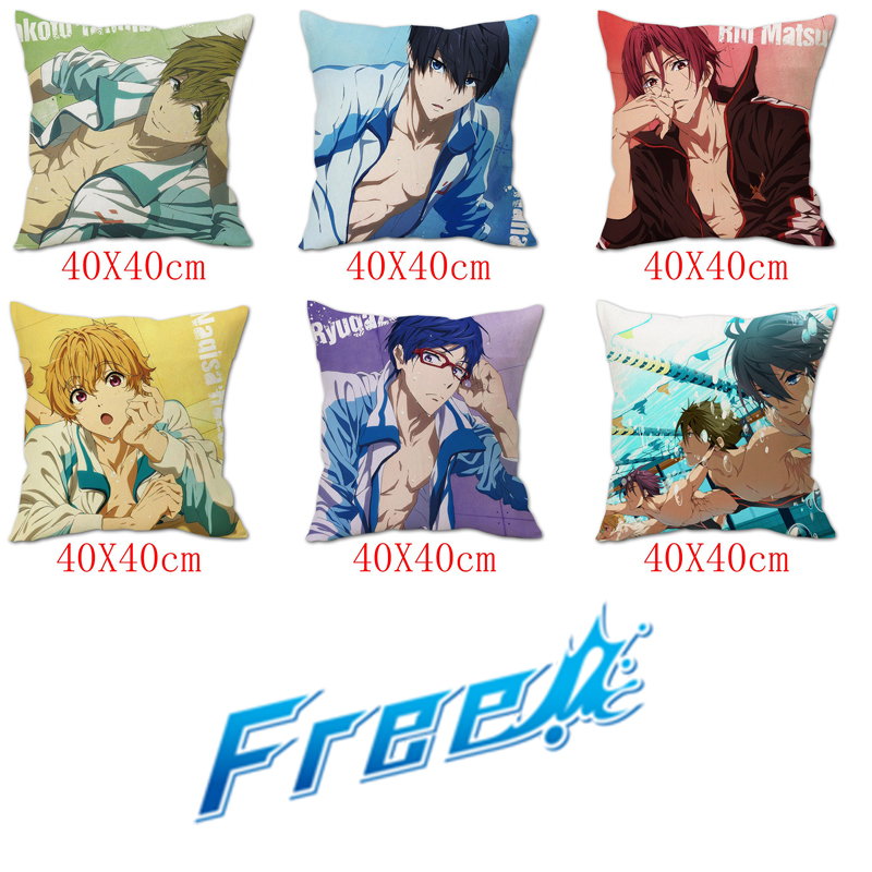 OHCOMICS Hot Anime Free! Swimming Peach Skin Pillow Case Pillow Slip Cushion Cover Costume Accessory Cosplay Home Office Decor