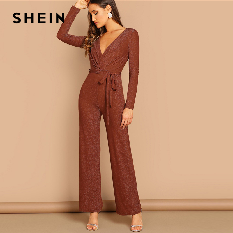 SHEIN Brown Plunging Neck V neck Self Belted Wrap   Jumpsuit   Elegant High Waist Skinny Plain   Jumpsuit   Autumn Women Party   Jumpsuits