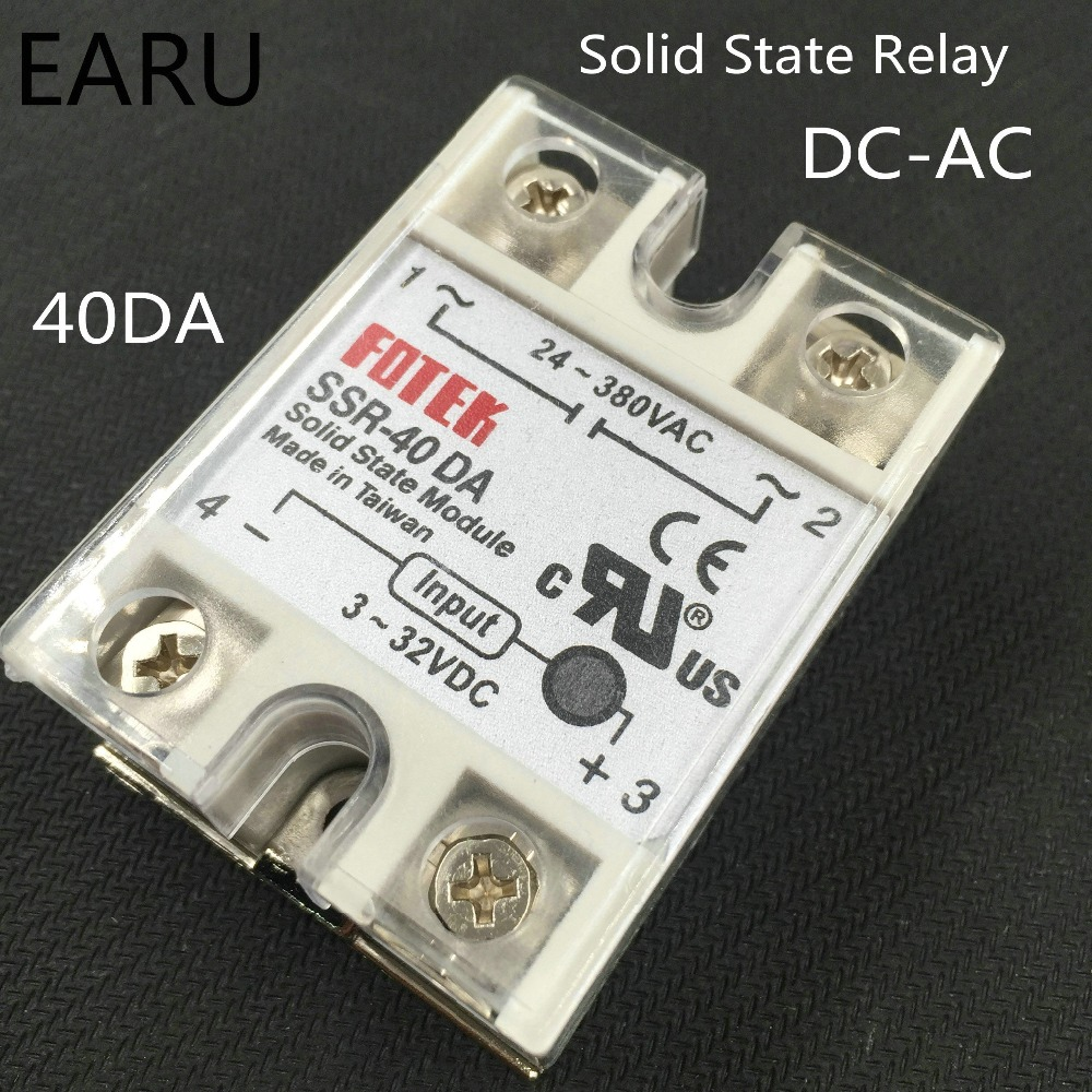 1 pcs DC3-32V to AC24-380V 1 Phase Solid State Relay SSR-40DA with Plastic Cover Good Quality Wholesale Hot SSR-40 DA SSR 40A mgr 1 d4825 single phase solid state relay ssr 25a dc 3 32v ac 24 480v