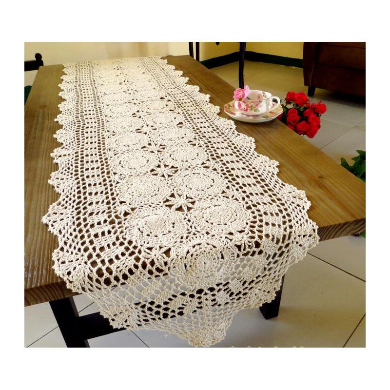 Ganchillo hecho a mano camino de mesa de flores falda American ...
