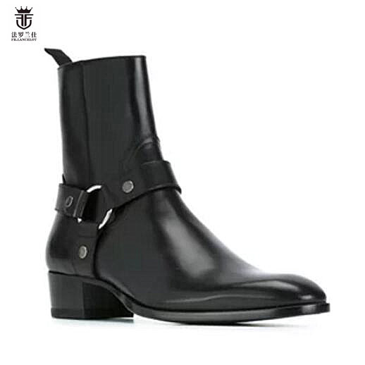 2018 Hot Sales Genuine Cow Leather Suede High Heel Men Boots High Top Zipper Fashion British Style Fashion Mens Chelsea Boots Men's Shoes