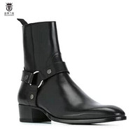 2019 Hot Sales FR.LANCELOT Genuine Leather Cow Leather Men Boots high top Zipper fashion british style fashion men Chelsea Boots