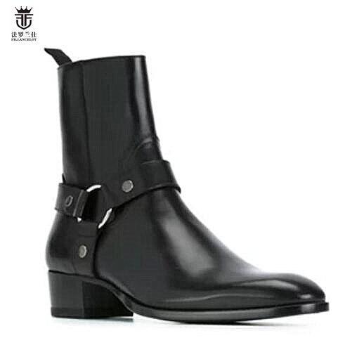 2019 ventas calientes FR. botas de cuero de vaca de cuero genuino de lancelote para hombre con cremallera superior a la moda estilo británico botas Chelsea para hombre-in Botinas from zapatos    1