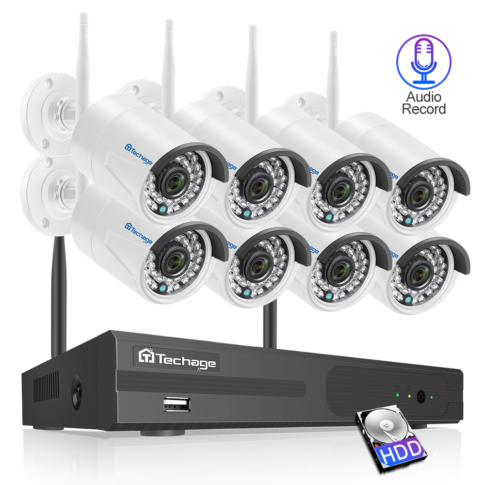 Techage 8CH Audio Sound Wireless CCTV Security System 1080P 2MP Wifi NVR Waterproof Camera P2P Video