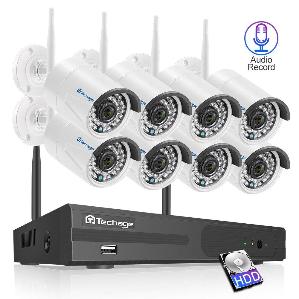 Techage 8CH Áudio Som 2MP Wi-fi NVR Sem Fio Sistema de Segurança CCTV 1080P Câmera À Prova D' Água Kit de Vigilância Por Vídeo P2P 3TB HDD