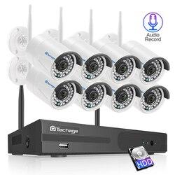 Techage 8CH Audio Senza Fili del CCTV Sistema di Sicurezza 1080P 2MP Wifi NVR Macchina Fotografica Impermeabile P2P Video di Sorveglianza Kit 3TB HDD