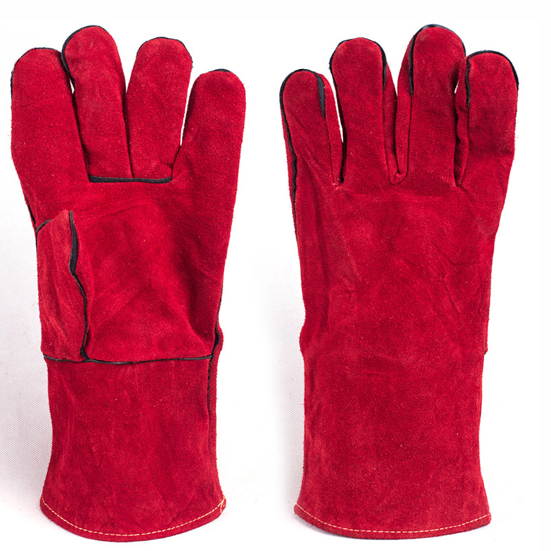 Welding Gloves Cowhide Electric Leather Welding Protective Gloves Fire High Temperature Protection Workplace Safety