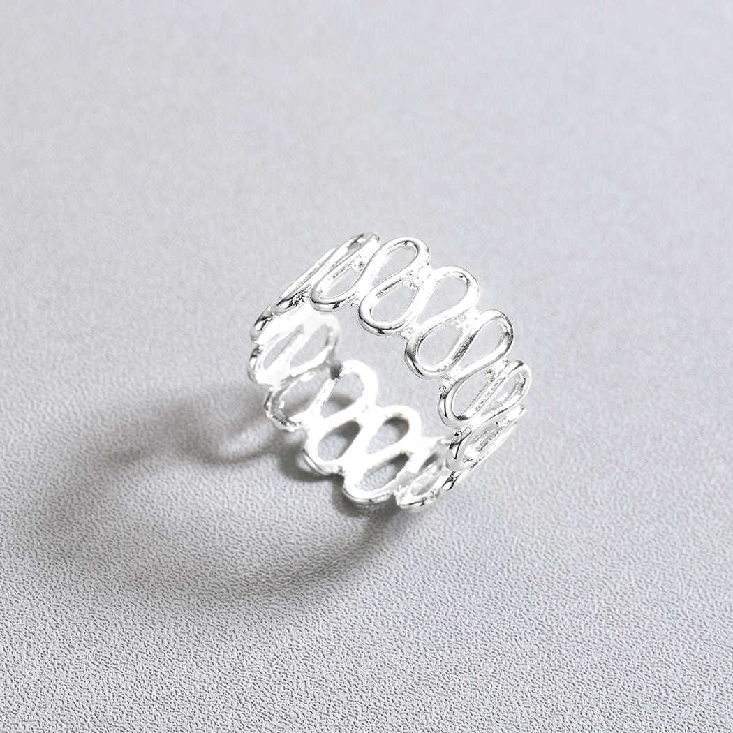 QIMING เรขาคณิต Vintage แหวน Twisted Wave Finger แหวนงานแต่งงานแหวนหมั้นเครื่องประดับของขวัญใหม่อินเทรนด์