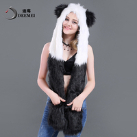 DEEMEI 2018 new winter Faux Fur Hood Animal Hoods Hat panda white black cute animal feux fur hat cap Beanies Cartoon Wolf Hat