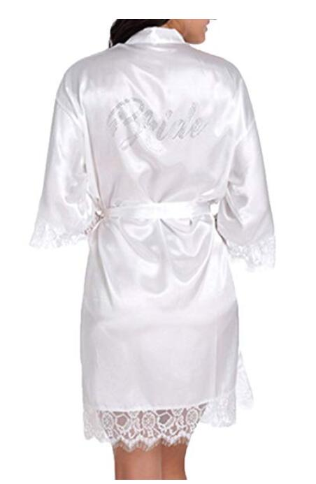 Satin Faux Silk Wedding Bride Bridesmaid Robes,White Bridal Dressing Gown/ Kimono Bathrobes,BRIDEBRIDE MAID Graphic on Back