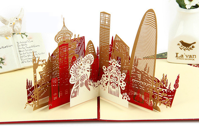 beijing landscape 3d cards pop up scenic card happy new year greeting cards best gifts for