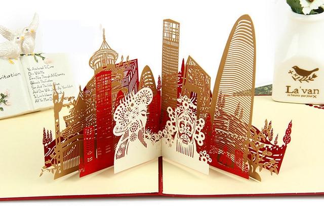 Beijing Landscape 3d Pop Up Kartu Ucapan Selamat Tahun Baru Scenic