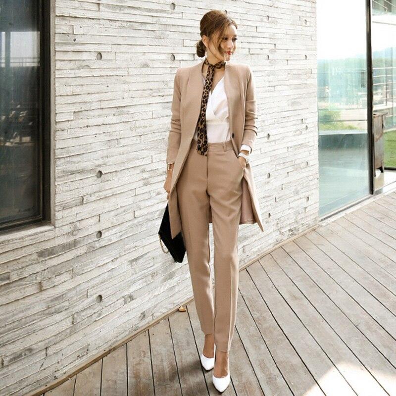 Pant Suits For Women Blazer Set Autumn Lady Business Office Work Korean Style Uniform V-neck Long Jacket Elegant Pants Suits