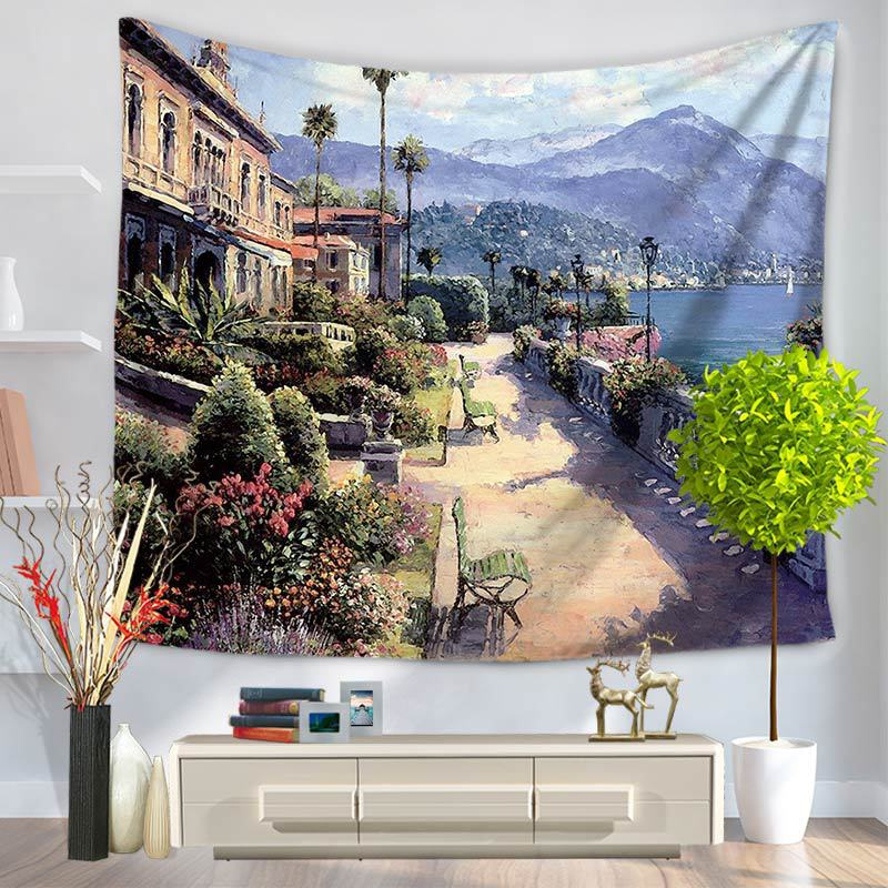 Mediterranean Style Tapestry Oil Painting Printed Wall Hanging Living Room Bedroom Multifunctional Tapestry Free Shipping stainless steel sink drain rack