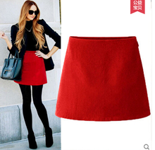 Europe fashion 2016 autumn and winter new Woolen solid a-line mini skirt Slim high waist was thin woman