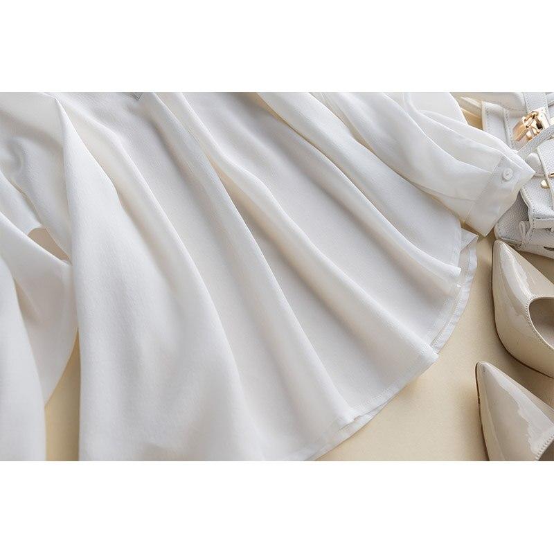 GUIYI Gola V Profundo Sexy Longas Mangas Soltas OL Camisa Das Senhoras 100% de Seda Das Mulheres Sólido Branco Conforto Temperamento T shirt - 6