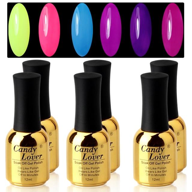 Candy Lover Long Lasting Professional Nail Polish Lacquer 6 pcs/lot Color UV/led Lamp Gel Polish