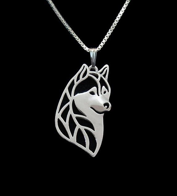Ожерелье Подвеска для собаки с головой сибирской хаски золотого цвета