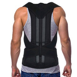 Adjustable Black Back Posture Corrector Shoulder Lumbar Spine Brace Support Belt Health Care for Men Women Unisex #288357