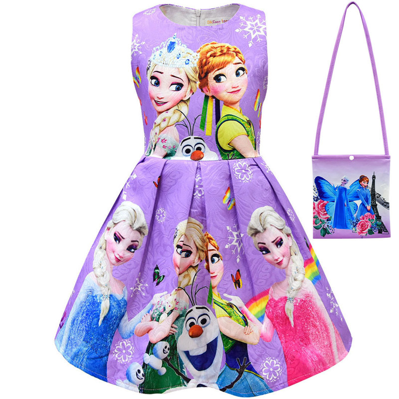 2019 Girls Cartoon Cosplay Snow Queen Dresses Princess Elsa Party Dresses Girls Dress And Bag Anna Costume Children Clothing Bag in Dresses from Mother Kids