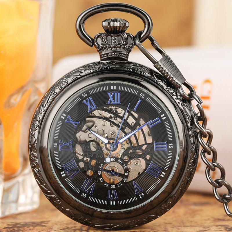 Vintage Hollow out Hand winding Mechanical Pocket Watch Men Luxury Pocket Watches Fashion Link Chain Pendant Clock Gift|Pocket & Fob Watches| |  - title=
