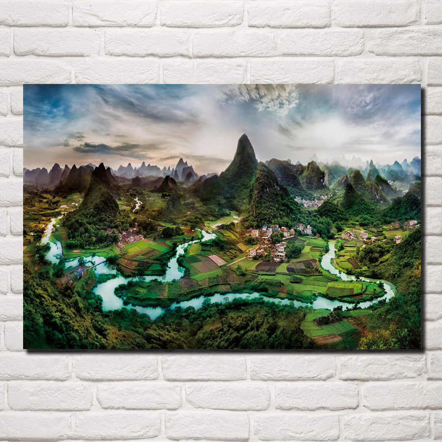 Surreal China Field Forest Guilin Landscape Li River Nan Mountains KB174 room home wall modern art decor wood frame poster