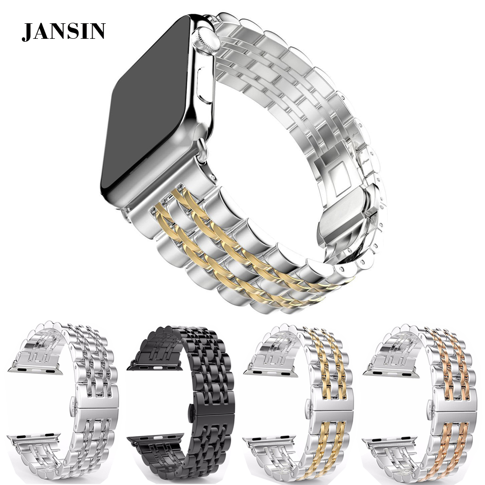 JANSIN Stainless Steel band for apple watch 42mm/38mm strap for iwatch 1 2 3 butterfly buckle watchband metal link bracelet eastar milanese loop stainless steel watchband for apple watch series 3 2 1 double buckle 42 mm 38 mm strap for iwatch band