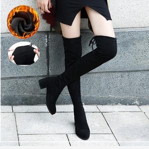 Image 2 - أسود مطاطا فلوك سليم صالح فوق الركبة أحذية النساء 2020 الخريف الشتاء كعب عالٍ للسيدات الدافئة الفراء أفخم طويل الفخذ أحذية عالية