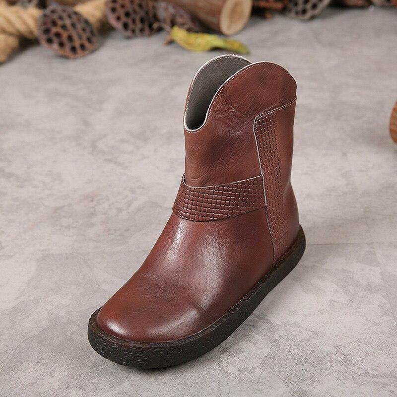 Véritable Chaussures Bout En Bottes Mode Femmes 2 Vintage À Maman Martin Cuir 1 Rond Main De Pour Cheville wR0fnzSwq