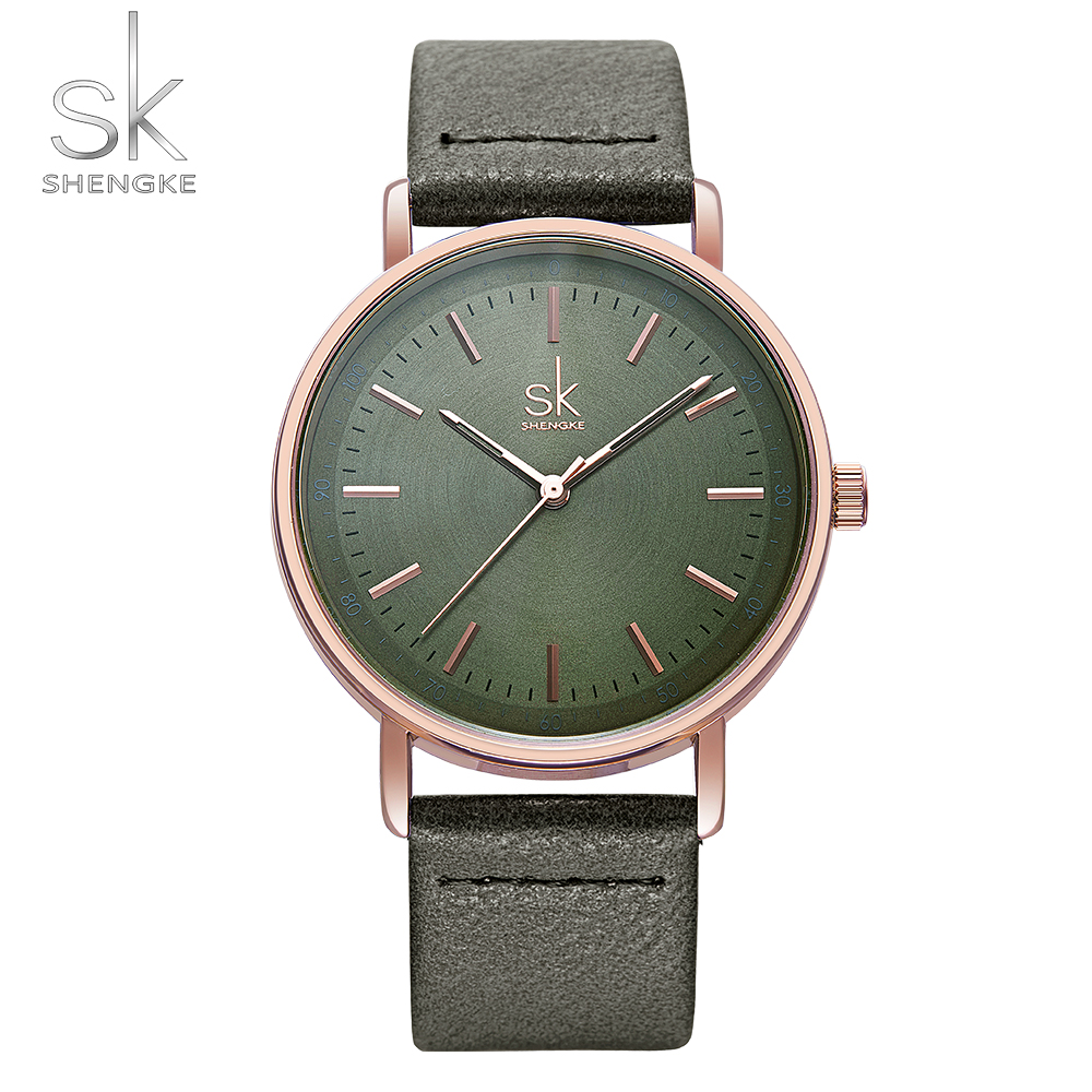SHENGKE New Leather Creative Design 4 Colors Fashion Women Watches Casual Quartz Japanese Movement Reloj Mujer  Vintage Clock
