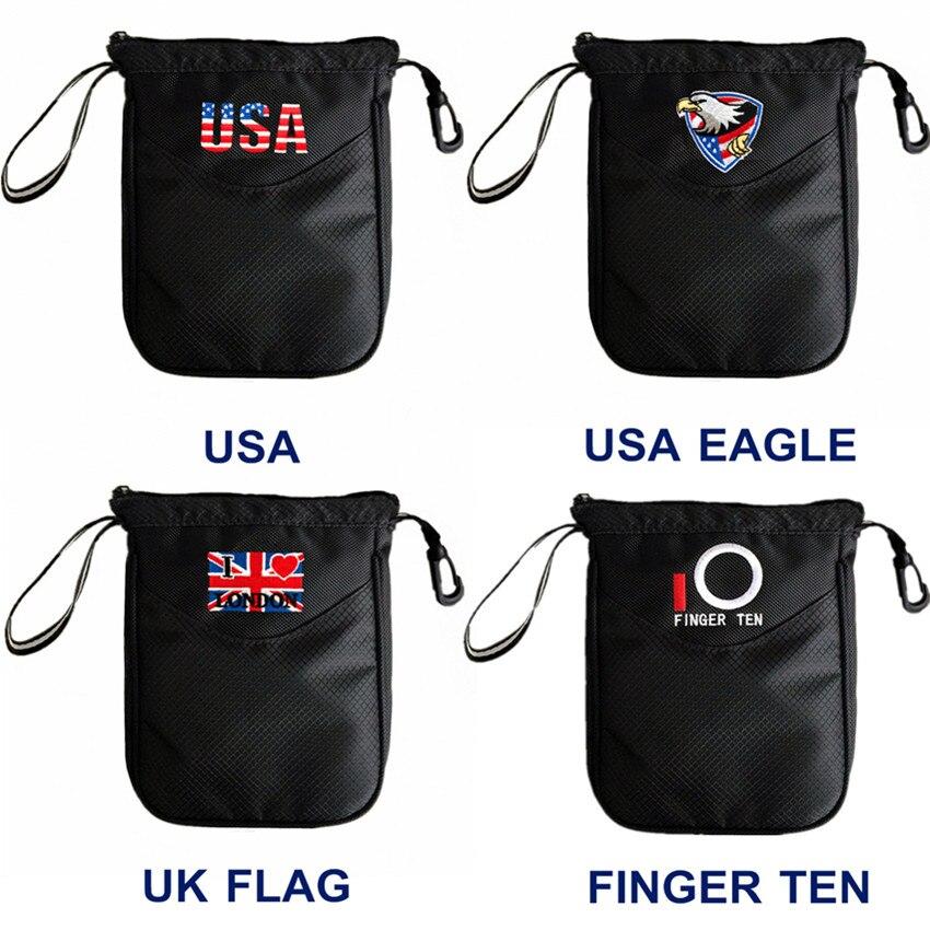 Golf Pouch Bag Inner Zipper Pouch Hold 20 Standard Large Golf Balls Bag Sports USA UK EAGLE Style Fit Men Women Kids Black Color