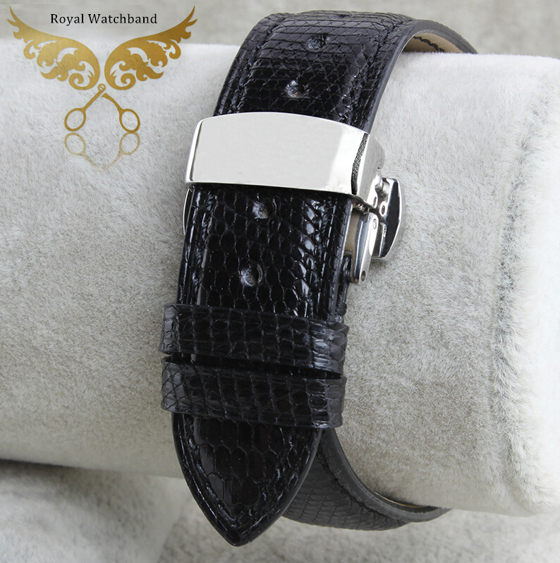 18mm 20mm  22mm New Men`s Premium Black Genuine Lizard Leather Watch Strap Band Silver Butterfly Clasp Buckle black 20 millimeters genuine lizard skin watch strap