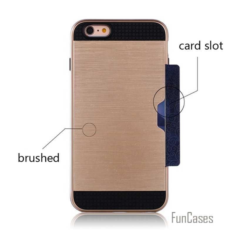 حافظة مدرعة هجينة بلاستيكية واقية من الصدمات لهواتف ابل ايفون 7 6 6S 5 5s Plus SE حامل بطاقة فتحة سيليكون الهاتف الخلفي يغطي كابا