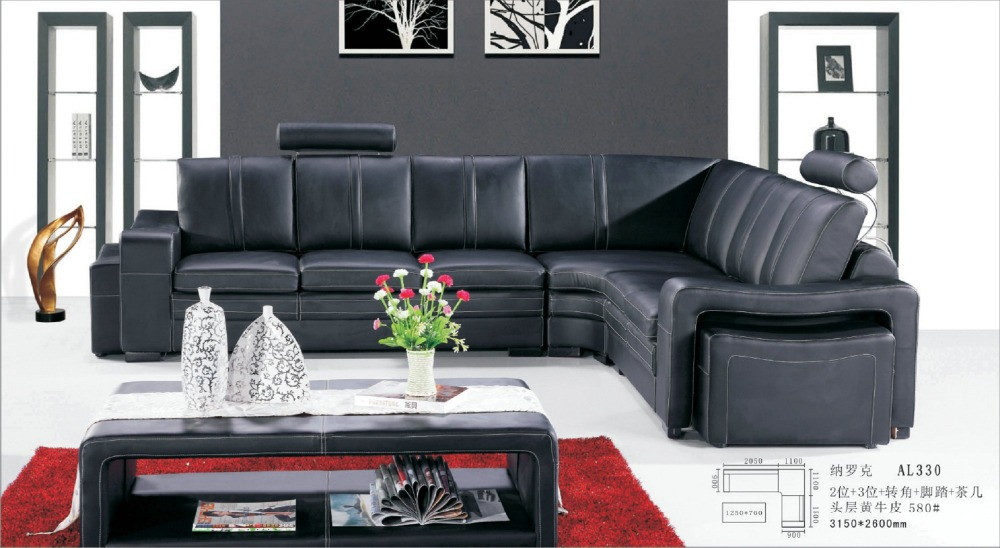 Latest Design Elegant Living Room Furniture Black Leather