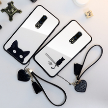 BONVAN Tempered Glass Case For Meizu 15 16 16th Plus Cute Cat Cover For Meizu 16th 16 15 Plus Heart Tassel lanyard phone Cases cheap Glossy Patterned Animal Geometric Abstract 5 5 5 46 5 95 6 6 5 Tempered Glass phone Case Anti-knock Dirt-resistant
