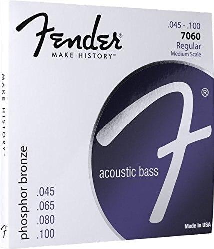 Fender 7060 Phosphor Bronze Acoustic Bass Guitar Strings, Medium Scale, 45-100 savarez 510 cantiga series alliance cantiga normal high tension classical guitar strings full set 510arj