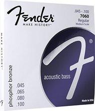Fender 7060 Phosphor Bronze Acoustic Bass Guitar Strings, Medium Scale, 45-100