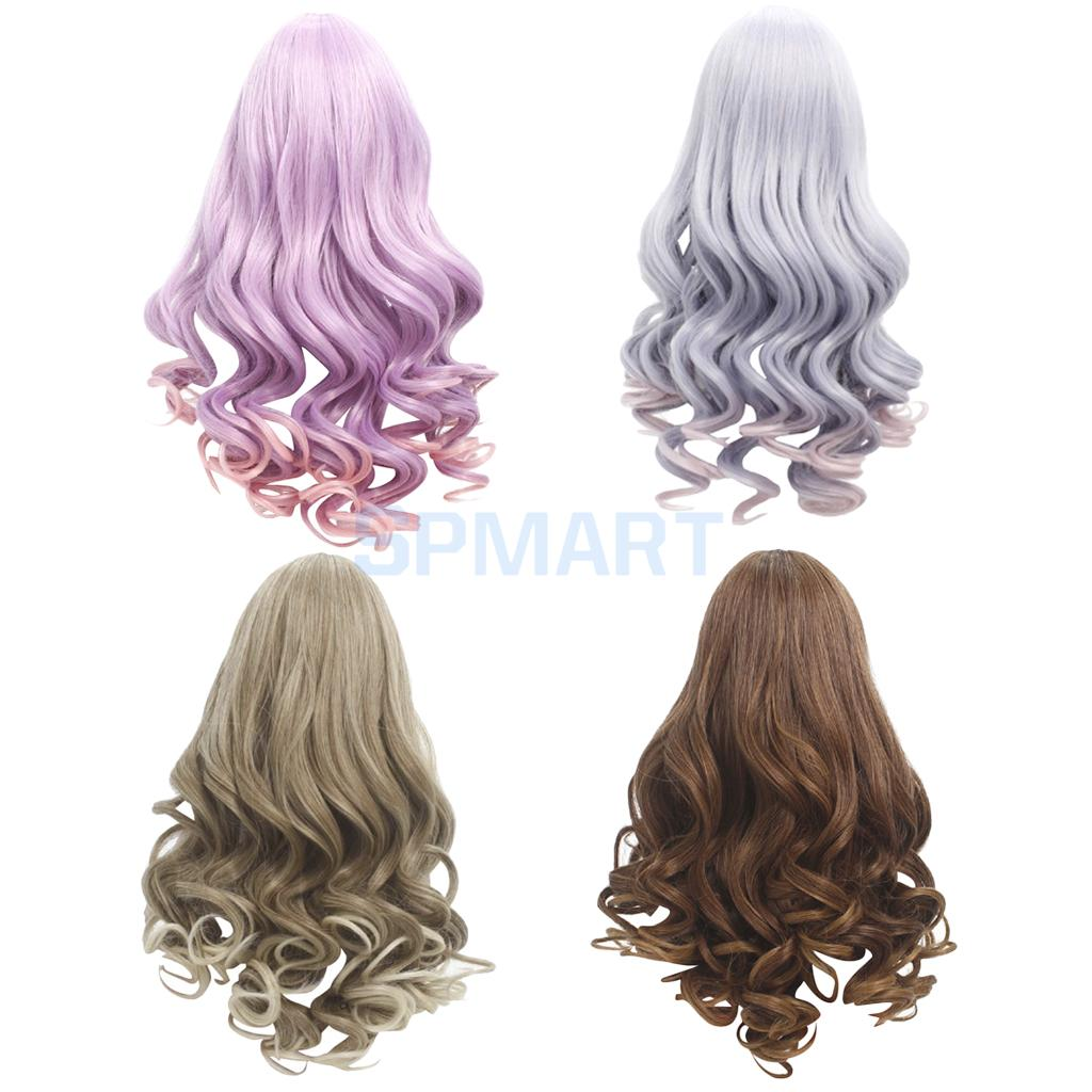 4 Pieces Long Fluffy Wavy Wigs Hair Hairpiece for 18'' American Girl Doll DIY Making Supplies Accessories graceful short side bang fluffy natural wavy capless human hair wig for women
