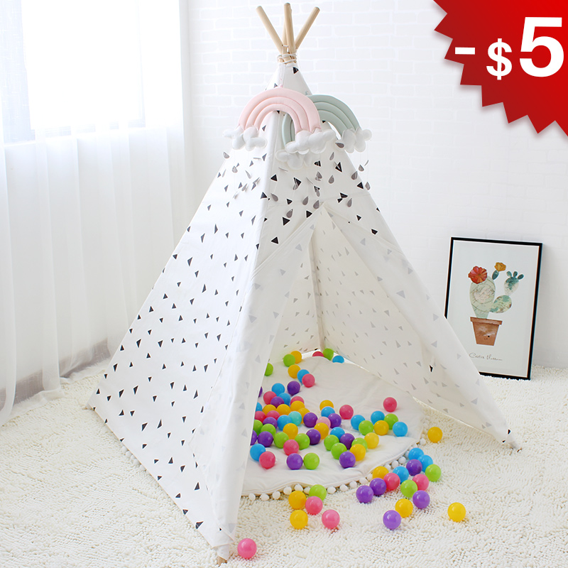 Triangle Wigwam Baby Tent Indoor Teepee House for Children Play Room Canvas Tipi Kids Toys Boys
