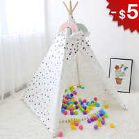 Triangle Wigwam Baby Tent Indoor Teepee House for Children Play Room Canvas Tipi Kids Toys Boys Girls Child Gifts Photo 4 Poles