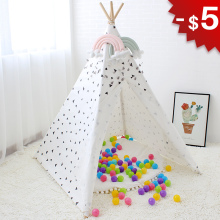 цена на Triangle Wigwam Baby Tent Indoor Teepee House for Children Play Room Canvas Tipi Kids Toys Boys Girls Child Gifts Photo 4 Poles