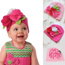 3M-4Y Nice Kids Baby Girls Lovely Headwear Big 3D Flower Beanies Cap Hats Photo Dress